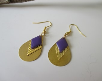 Sequin drop earrings gold and purple enameled