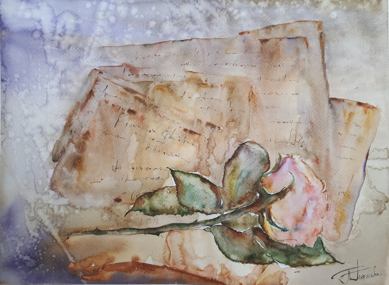 ORIGINAL Aquarell Malerei Aquarell Rose Rose rosa rose Blume | Etsy