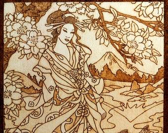 Unique gift for home wood burned plaque Shinto Goddess Konohana Sakuya-hime nature goddess pagan goddess pyrography wooden home decor