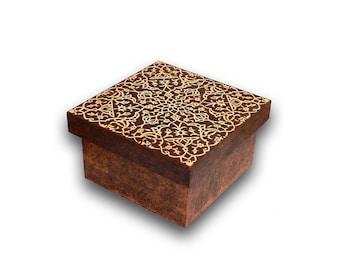 Wood burned box jewelry box wooden box keepsake box Floral Arabesque pyrography treasure chest arabic box oriental box small box