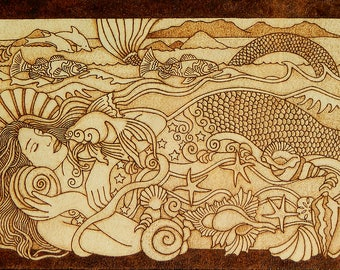 Beautiful Mermaid wall decor pyrography wood burned gift for home wooden plaque unique gifts nautical home decor nautical wall art