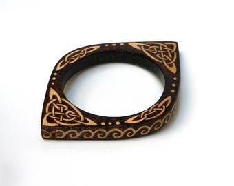 Eco friendly nature jewelry wooden bracelet wooden jewelry Celtic jewelry bangle bracelet thin bangle bracelet wood bracelet pyrography