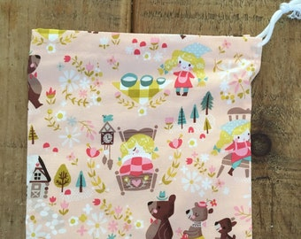 Handmade Kids Cotton Wash bag, Drawstring Toiletry Bag, Nappy Bag, Baby Shower gift, Goldilocks Print Washbag