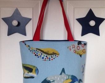 Reversible Tote Bag / Shopping Bag / Denim Tote Bag / Whale Tote Bag
