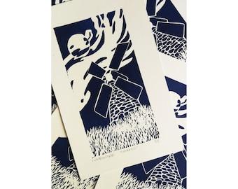 Windmill Linocut Print