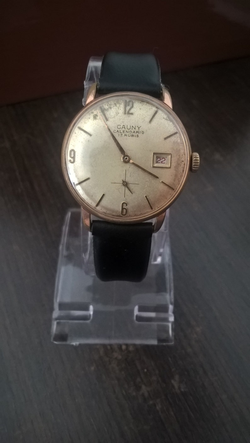 Calendario Vintage.Cauny Prima Calendario Vintage Men Watch Mechanical Fhf 76 From 1960s Gold Plated Case Working Fine