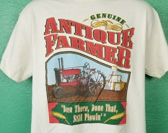Vintage 90s Antique Farmer Genuine Been There Done That Still Plowing Tractor Ranch Rancher Farm Farming person Shirt Large