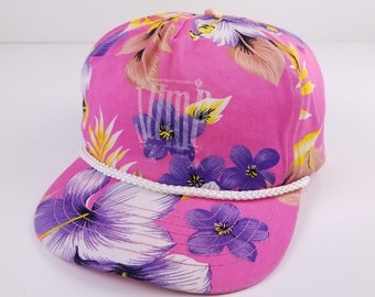 5b237dc6db9 Vintage 90s Floral Pink Jump Rope For Heart Vaporware Snapback Hat