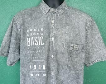 597e9c46 Vintage 80s Bugle Boy Acid Washed Gray Denim Jean Shirt Size Medium M