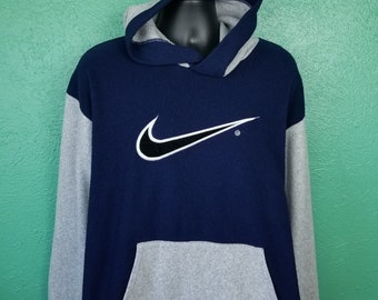 fb052bf6938933 Vintage 90s Nike Hoodie Fuzzy Blue and White made in USA size Large L