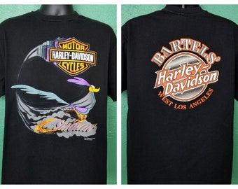 a96e0cb31 Vintage 90s Harley Davidson Road Runner Looney Tunes Bartel's Los Angeles  Black T shirt Size XL