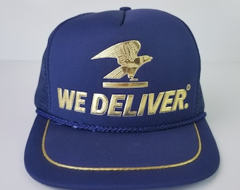 fb4d92304fb Vintage 80s USPS United States Postal Service Blue Gold Trucker