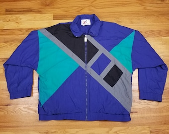 Vintage 90s Color Block Windbreaker Jacket Geometric Green and Blue  abstract design pattern Size XL f1362961339a6