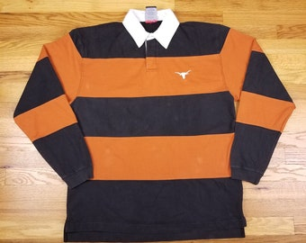 Vintage 90s Texas Long Horns University of Texas at Austin Pro Player Rugby  Striped Polo Long Sleeve Shirt size Large L bfab6e532