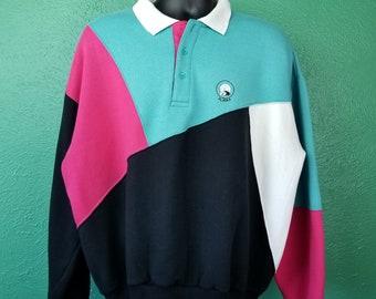 721675462838b Vintage 80s Color Block Polo Alaska Polar Bear Pink Black White 90s  Sweatshirt Long Sleeve Shirt size XL