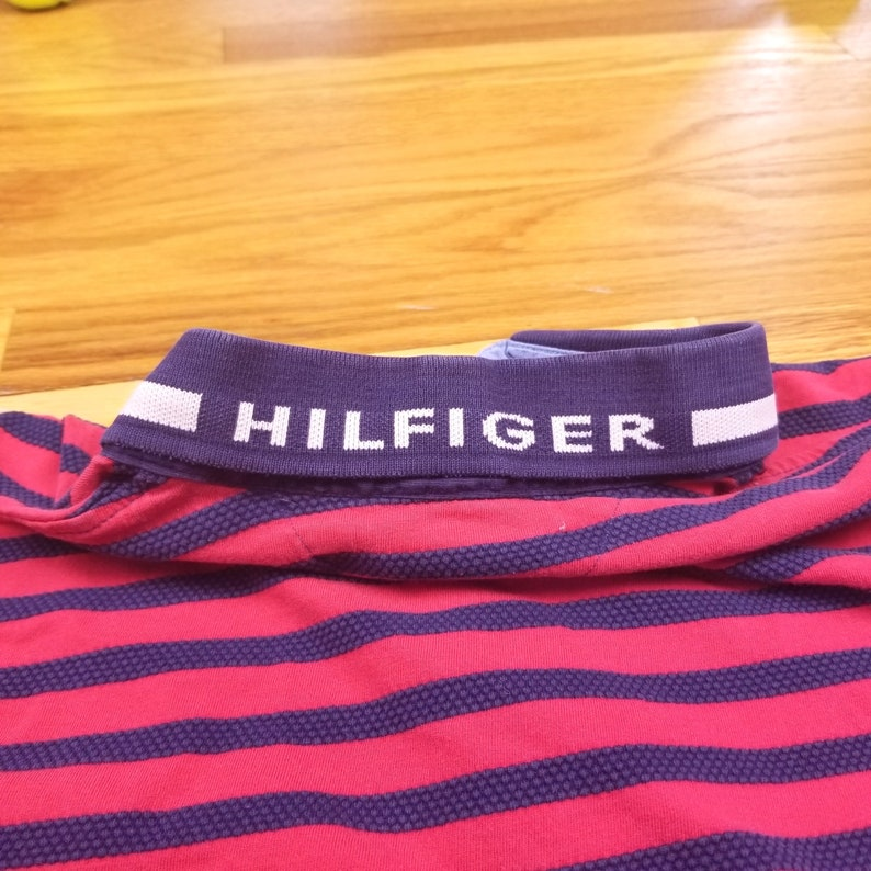Vintage 90s Tommy Hilfiger Red Stripped Polo Shirt Spell Out size XL