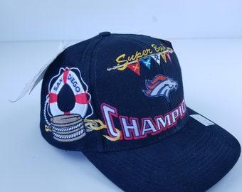 bbb1ed21752 Vintage 90s Deadstock Denver Broncos Super Bowl Champions Champs Hat ...