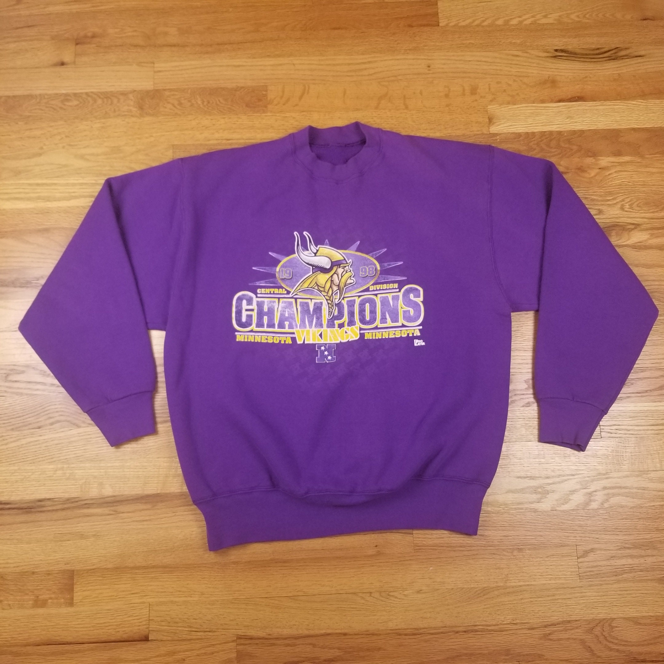 c6a0504b Vintage 90s Vikings Champions Purple Sweatshirt Size XL X Large