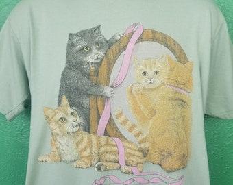 Vintage Cat Shirt Cute Kitty Kittens baby kitties playing Orange Tabby pastel green size Large
