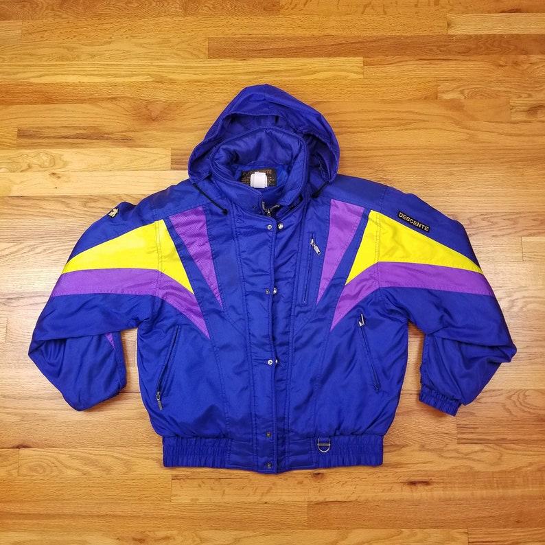 0d612f29e Vintage 80s Descente Neon Ski Jacket Coat Geometric Purple Yellow Size  Large L