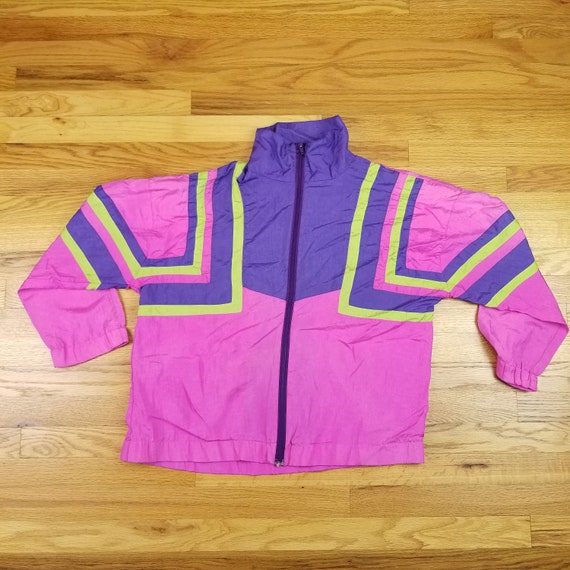 Vintage 80s Hot Pink Neon Windbreaker Purple Yellow Geometric Vaporwave 90s size Large L