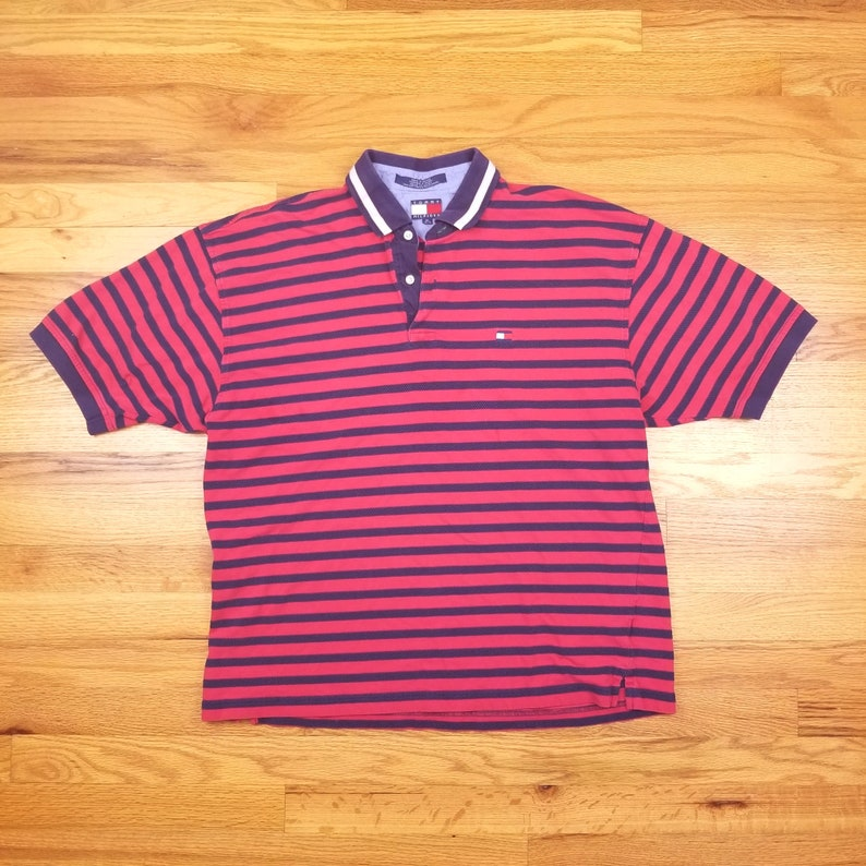 075136c0 Vintage 90s Tommy Hilfiger Red Stripped Polo Shirt Spell Out   Etsy