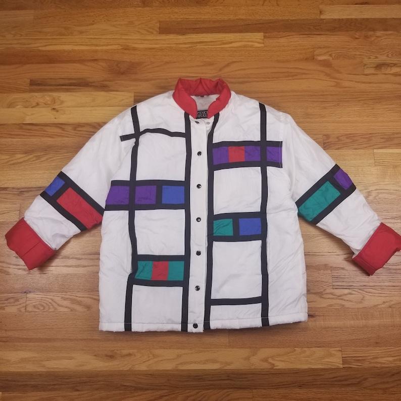 e595b0896 Vintage 80s Color Block Geometric Vaporwave Coat Jacket Squares Purple and  Red size Large L