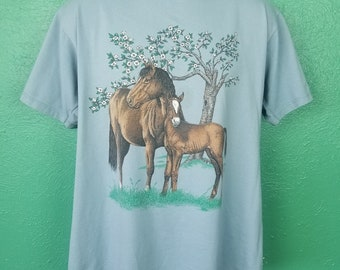 Vintage 90s Horse and Cute Colt baby animal shirt size large