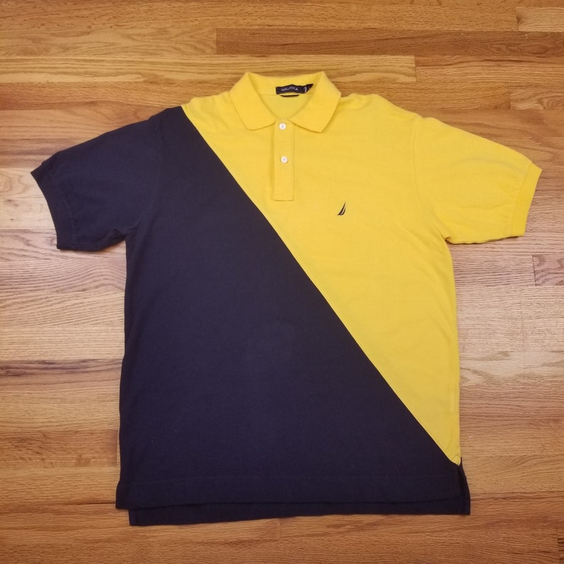 3da0e5a90 Vintage 90s Nautica Polo Color Block Yellow Black Medium M | Etsy