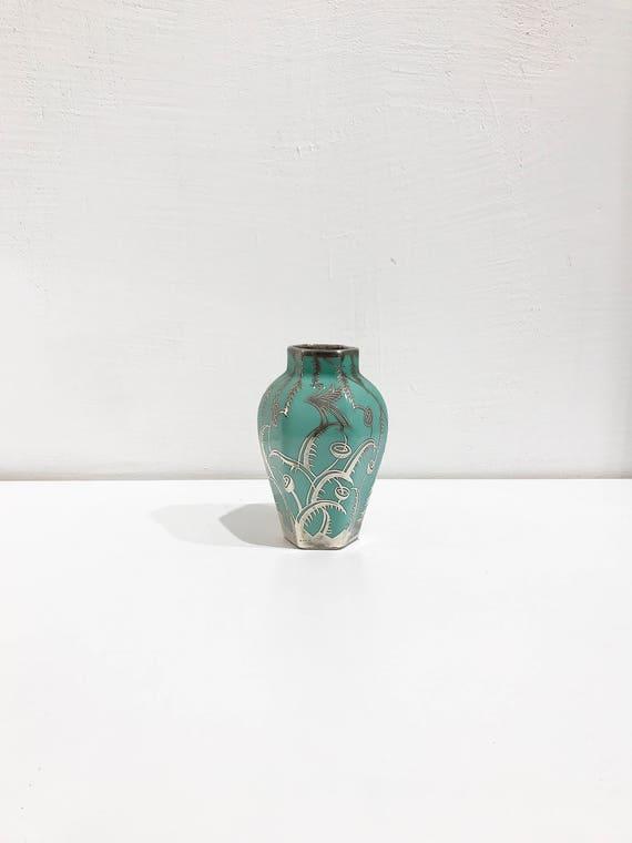 Arrigo Finzi Liberty Porcelain And Sterling Silver Vase 30s Etsy