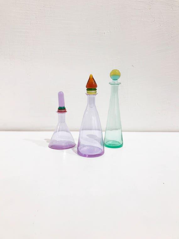 Set Of 3 Carlo Moretti Vaseperfume Bottlebottle Signed At Etsy