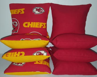Set Of 8 Kansas City Chiefs Cornhole Bean Bags FREE SHIPPING