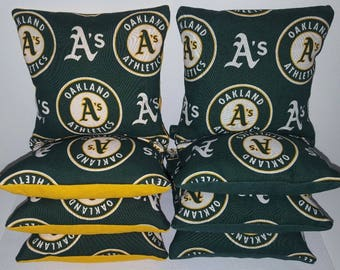 Set Of 8 Oakland A's Cornhole Bean Bags FREE SHIPPING