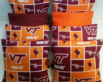 Set Of 8 Virginia Tech Cornhole Bean Bags FREE SHIPPING