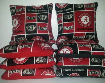 Set Of 8 Alabama Crimson Tide Cornhole Bean Bags FREE SHIPPING