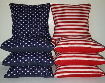 Set Of 8 Patriotic U.S. American Flag Cornhole Bean Bags FREE SHIPPING