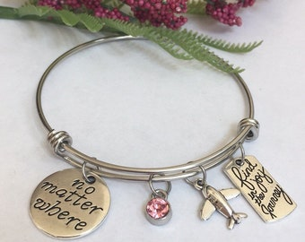 No matter where, find joy in the journey , airplane charm bracelet
