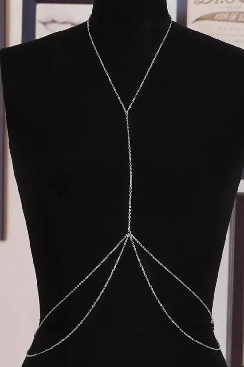 Women Bikini Crossover Waist Belly Harness  Chest Bra Body Chain Necklace Jewelry gold Color