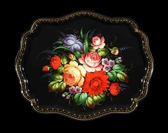 Zhostovo Tray (dark background)