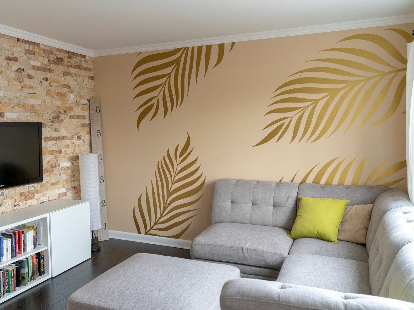 Giant Palm Leaves Home Decor Wall Decal Living Room Pattern