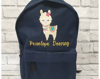 Personalised Llama Backpack Monogrammed withe an embroidered name or initials