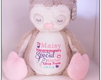 Personalised Teddy Bear, Embroidered Bears,  Personalised Baby Gift, Christening, Birthday Gift, Birth Announcement, Embroidered, Owl Teddy