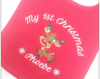 Personalised First Christmas Bib, Baby Bib, Baby's First Christmas, Reindeer Bib, First christmas Dinner, Christmas gifts, Keepsake, newborn