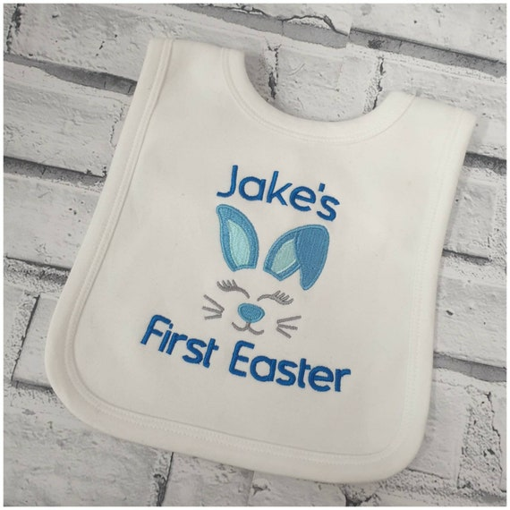 Personalised My 1st Easter Embroidered Baby Pull-Over Bib Gift Bunny Unisex