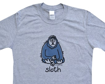 Mens lazy SLOTH grey T.shirt. Father's Day idea!