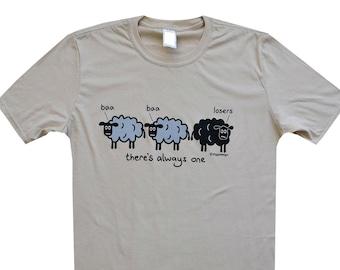 Mens funny BAD SHEEP Grey T.shirt.