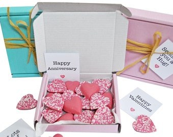 Tiny treats! Little pink box of chocolate hearts. Ideal Love you/miss you/Anniversary etc. Personalisable.