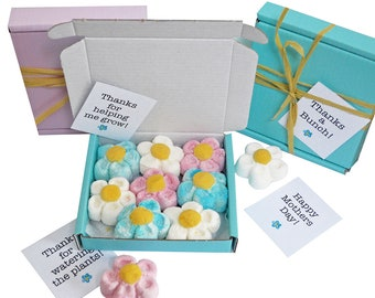 Tiny treats! Little Skyblue box of Marshmallow flowers, ideal for Thanks/birthday/anniversary etc. Personalisable.