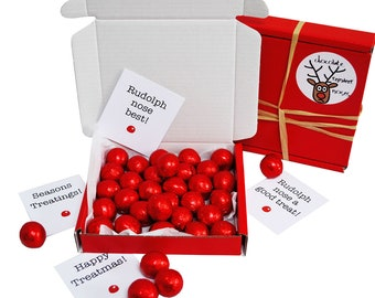 Tiny treats! Little Red box of chocolate reindeer noses. Ideal Xmas gift/childs gift etc. Personalisable.
