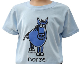 Kids unisex Skyblue Horse T.shirt